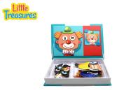 Little Treasures 79-Pcs Magnetic Dress-Up Set facial features puzzle Toy Book for Kids Ages 3 Plus