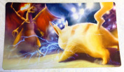 Pikachu Vs. Charizard Pokemon TCG playmat, gamemat 60cm wide 36cm tall Free round Mat tube Included for trading card game smooth cloth surface rubber base
