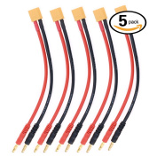 Glarks 5pcs XT60 to 4.0mm Banana Plug Balance Charge Cable Adapter Connectors for RC Helicopter Quadcopter XT60 Lipo Battery Plug Charge