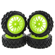 Rowiz 4 X Green RC 1:10 Scale Off-Road Tyres Wheel Rims Hex 12MM Crossing Rubber
