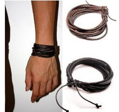 Perfect Shopping Men,Women's Adjustable Black & Brown Leather Wristband and Rope Cuff Bracelet, 18cm, 2-Pack