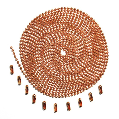3m Length Ball Chain, #3 Size, Copper, with 10 Matching Connectors