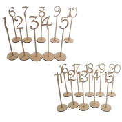 Wedding Table Numbers - Tinksky 20pcs 1-20 Wodden Table Numbers Stick for Wedding Decoration