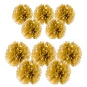 10pc Gold Metallic Tissue paper pom poms flower kit - Size 8 25cm Great for Decorations!