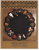 Christmas Time Table Mat Felted Wool Pattern 60cm Round Penny Rug Primitive St. Nick Reindeer