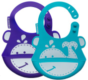 Ubaby™ - Best Silicone Waterproof Bibs - Soft Baby Bibs with Food Catcher Pocket - For Girls & Boys - Easily Wipes Clean and Dries - Set of 2