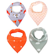 MKONY Baby Bandana Drool Bibs with 2 Snaps,Coral & Grey Set,4-Pack Soft Absorbent Cotton, Cute Baby Gift for Boys & Girls
