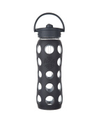 Lifefactory Glass Bottle with Straw Cap, Carbon, 650ml