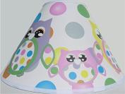 Multi Coloured Owl Lamp Shade with Polka Dots / Owl Nursery Decor