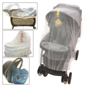 Crocnfrog Baby Mosquito Net for Strollers, Carriers, Cradles Car Seats,. Designed For Cribs, Bassinets, Most Pack'n'Plays & Playpens. Made of White Durable Insect Netting. included!