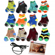 Yaobaby 6 Pairs 1-2 Years Baby Boy's Toddler Anti Skid Slip Slipper Stretch Knit Socks and Gift , Footsocks sneakers Socks,Length 10-12cm