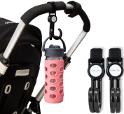 Dwelling Place® Stroller Hooks   2 Pack   Adjustable and Holds 14kg   For Nappy Bags, Groceries, etc.