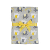 Baby Gear Plush Boa Ultra Soft Baby Boys Blanket 30 x 40 Grey Yellow Elephants