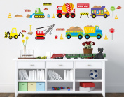 B & Y Decorative Peel Vinyl Wall Sticker Kids Baby Rooms Nursery Removable Decals - Vehicle Park