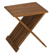 Bare Decor Rocco Folding Stool in Solid Teak Wood, Brown, 43cm