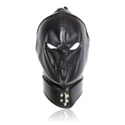 Meili Black Bondage Faux Leather Head Mask Open Mouth & Eyes (black).