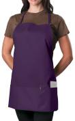 Purple Adjustable Bib Apron - 3 Pocket