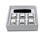 BootKitchenTan Stainless Steel Whiskey Ice Cubes-Wine Stones Set of 6 Stainless Steel Whiskey Stones ,Wine,juice,beer Drinks