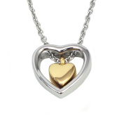 Double Heart Golden Cremation Urn Jewellery Necklace Pendant Funnel Fill Kit, Keepsake Memorial Ashes