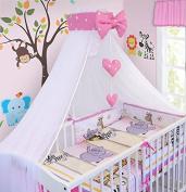 LUXURY 10Pcs BABY BEDDING SET COT BED PILLOW DUVET COVER BUMPER CANOPY to Fit Cot Bed Size 140x70cm 100% COTTON