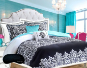 Teen Girl Bedding Damask Girls Comforter Black White Aqua Teal Twin / Twin XL Dorm + GORGEOUS Throw Pillows + Sham & Home Style Sleep Mask Bed Bedspread Sets for Kids Teenage Teens Floral Medallion