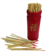 """Chinese Fortune Telling Sticks W. Instruction Booklet Red Bamboo Cansiter Golden """"FU"""""""