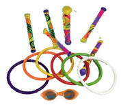 Underwater Pool Diving Toys Assortment, Drive Rings and Sticks with Goggles by Dive Masters