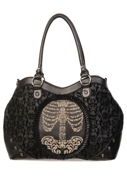 Banned Black Flocked Cameo Skeleton Handbag