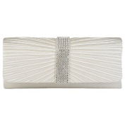 Eleoption Womens Satin Diamante Ladies Pleated Bow Wedding Bridal Prom Handbag Clutch Bag