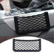 Zyurong Black Universal Car Seat Side Back Pocket Storage Organiser Nylon Net Bag Phone Holder L