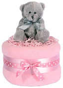 Teddy bear nappy cake - silver, pink and white girls baby gift hamper