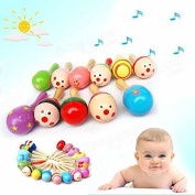 easyshop Baby Wooden Sand Hammer Maracas Rattle Bell Instruments Toys