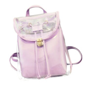 Drasawee Women Clear Transparent PVC School Backpack Girl's Lovely Jelly Casual Shoulder Daypacks Fashion Travel Beach Bag Purple