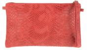Girly HandBags Italian Suede Snake Print Clutch Bag