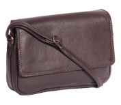 Real Leather Womens Shoulder Bag Brown Messenger Cross Body Flap Over Bag - A75