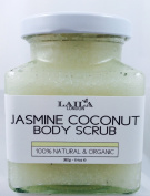 Jasmine Coconut Organic Body Scrub 100% Natural With Bamboo Spoon 350g Stretch Marks & Cellulite, Exfoliating Body Scrub - Soften Skin - Smooth Skin Before Tanning - Improve Circulation, Stimulate Collagen and Fight Ageing - Reduce Ingrown Hairs, Bumps ..