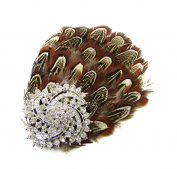 Brown Silver Pheasant Feather Rhinestone Fascinator Hair Clip Headpiece Vtg 78 *EXCLUSIVELY SOLD BY STARCROSSED BEAUTY*