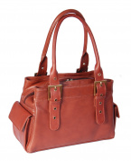 Luxury Leather Handbag for Womens A18 Brown New Double Handle Multi Compartment Shoulder Bag