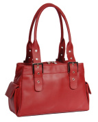 Luxury Leather Handbag for Womens A18 Red New Double Handle Multi Compartment Shoulder Bag