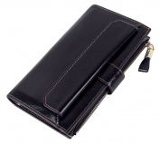 Tibes Large Capacity Zipper Leather Wallet with 19 Card Slot