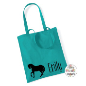 Horse Silhouette & Name 100% Cotton Tote Bag Gift Present Pony Riding