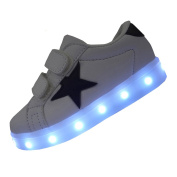 DAYOUT Star Patchwork Unisex Kids Led Light Up Shoes for Boys Girls Luminous Sneakers Veclro Closure