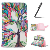 Samsung Galaxy J1 Mini (2016) Case,Leather Case for Samsung Galaxy J1 Mini,Ukayfe White Wallet Case for Samsung Galaxy J1 Mini,Flip Case for Samsung Galaxy J1 Mini,,Fashion Oil Painting Colourful Tree Design Pu Leather Magnetic Flip Cover Stand Wallet  ..
