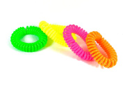 4 Pack Hair Bands Bobbles Telephone Spring Style Neon Colour Ponytail Elastics{colours may vary}
