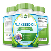 Flaxseed Oil, 1000mg, Best Source of Omega 3 6 9, Powerful Benefits for Skin Hair Nails, Boost Metabolism and Weight Loss, For Men & Women, 180 Softgels