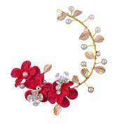 Hair Beauty Wedding Accessories Head Decoration with Fuchsia Flower, 28x7cm