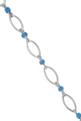 Blue Beads Sterling Silver Anklet