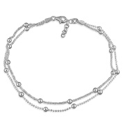 """Beaded Double Chain Sterling Silver Anklet / Ankle Bracelet / Ankle Chain - 9.75"""" Inch / 25cm - Anklets For Women"""
