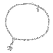 """Star Charm On Chain Sterling Silver Anklet / Ankle Bracelet / Ankle Chain - 9.75"""" Inch / 25cm - Anklets For Women"""