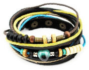 axy TWIC13-5 13 Tibet Leather Wrap Bracelet Set! Bracelet Leather Bracelet Real Leather! Surfer Bracelet Jewellery
